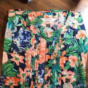 Liz Claiborne NY floral Print Blue Floral Tunic 8